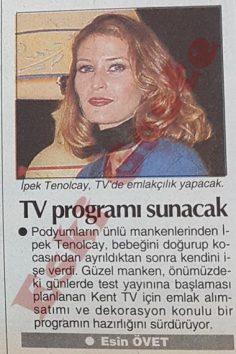 İpek Tenolcay TV programı sunacak