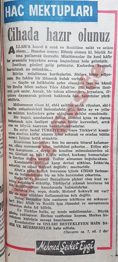 Mehmet Şevket Eygi'nin Kanlı Pazar öncesi yazısı