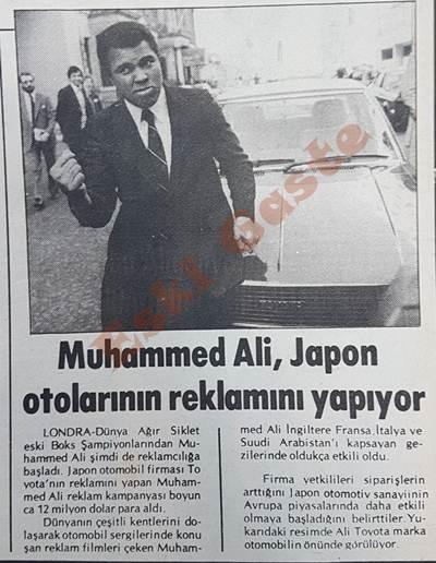 Muhammed Ali, Japon otolarının reklamını yapıyor
