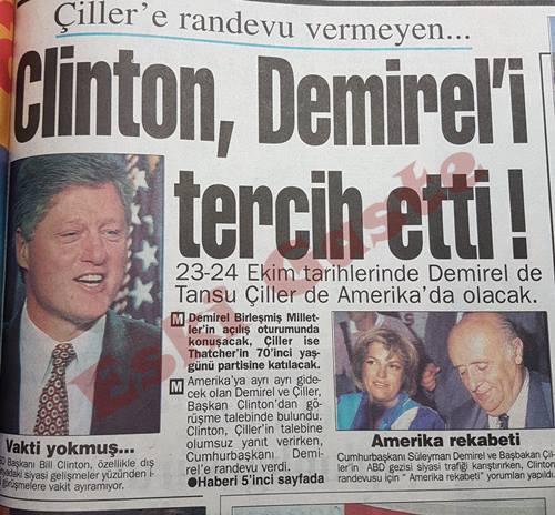 Clinton Demirel'i tercih etti