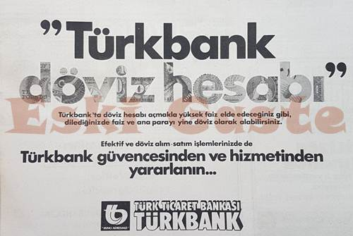 Türk Ticaret Bankası Türkbank reklamı