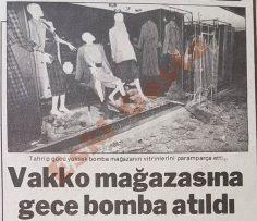 Vakko mağazasına gece bomba atıldı