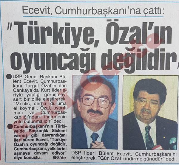 Ecevit: Türkiye Özal'ın oyuncağı değildir