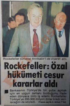 David Rockefeller: Turgut Özal hükümeti cesur kararlar aldı