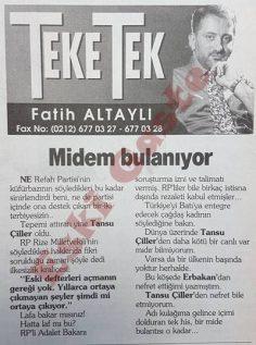 Fatih Altaylı'dan Tansu Çiller'e: Midem bulanıyor