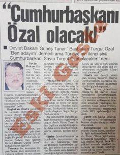 Güneş Taner: Cumhurbaşkanı Turgut Özal olacak
