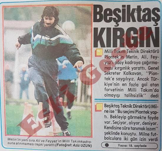 Metin Ali Feyyaz milli takıma alınmadı, Beşiktaş kırgın