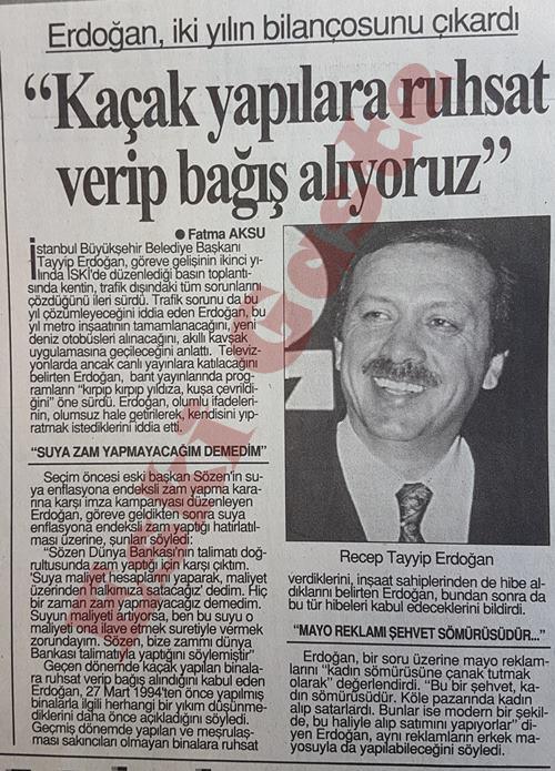 Recep Tayyip Erdoğan: Kaçak yapılara ruhsat verip bağış alıyoruz