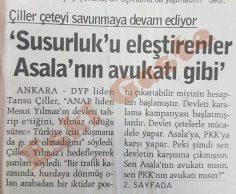 Tansu Çiller: Susurluk'u eleştirenler Asala'nın avukatı gibi