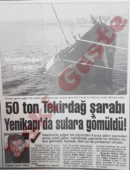 50 ton Tekirdağ şarabı Yenikapı'da sulara gömüldü!