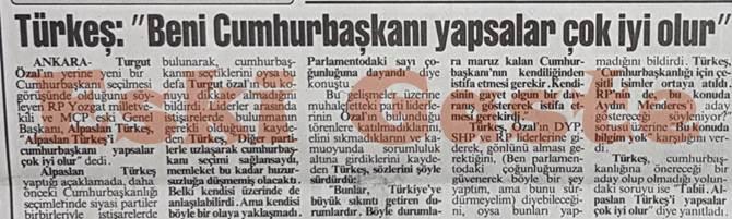 Alparslan Türkeş: Beni cumhurbaşkanı yapsalar çok iyi olur