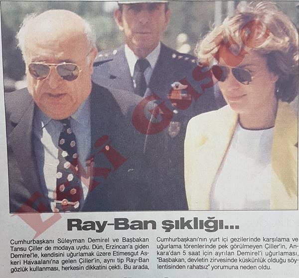 Süleyman Demirel ve Tansu Çiller'in Ray-Ban şıklığı