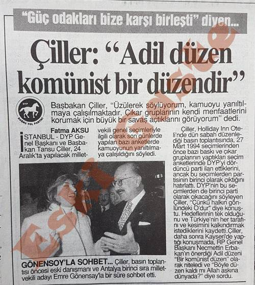 Tansu Çiller: Adil düzen komünist bir düzendir