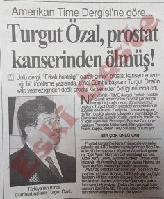 Turgut Özal prostat kanserinden ölmüş!