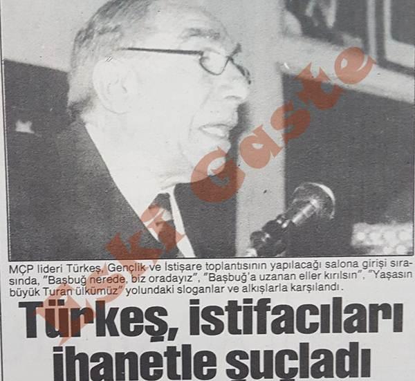 Alparslan Türkeş istifacıları ihanetle suçladı