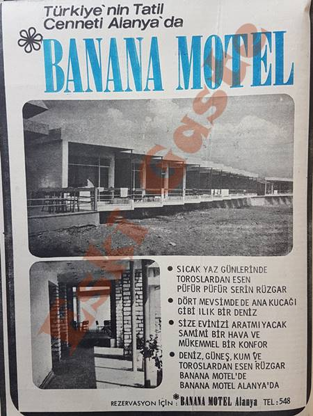 Alanya Banana Motel reklamı