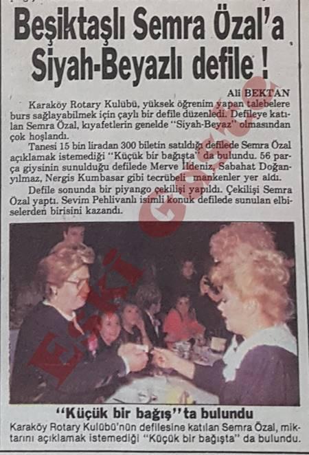 Beşiktaşlı Semra Özal'a siyah beyazlı defile