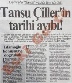 Tansu Çiller Demirel'e şantaj mı yaptı?