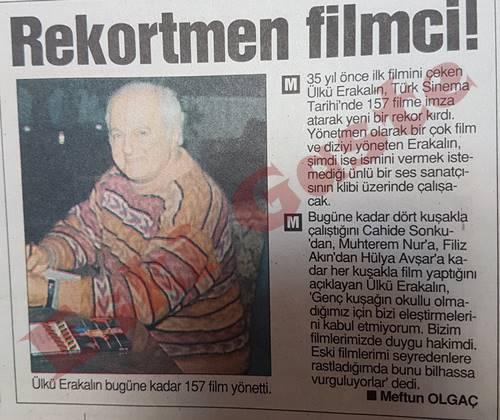 Rekortmen filmci Ülkü Erakalın