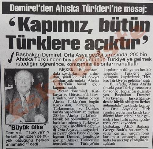 Demirel'den Ahıska Türklerine mesaj