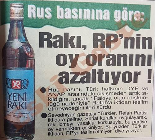 Rakı Refah Partisi'nin oy oranını azaltıyor!