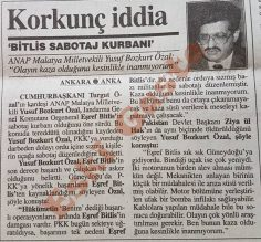Yusuf Bozkurt Özal: Eşref Bitlis sabotaj kurbanı