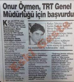Onur Öymen TRT Genel Müdürlüğü için başvurdu