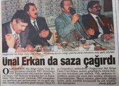 Ünal Erkan da saza çağırdı