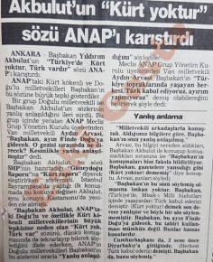 """Yıldırım Akbulut'un """"Kürt yoktur"""" sözü ANAP'ı karıştırdı"""
