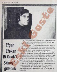 Efgan Efekan Sidney'e gidiyor