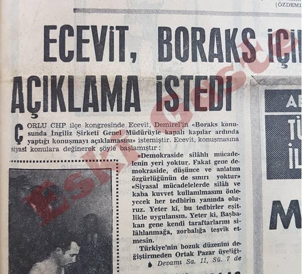 Bülent Ecevit boraks için açıklama istedi