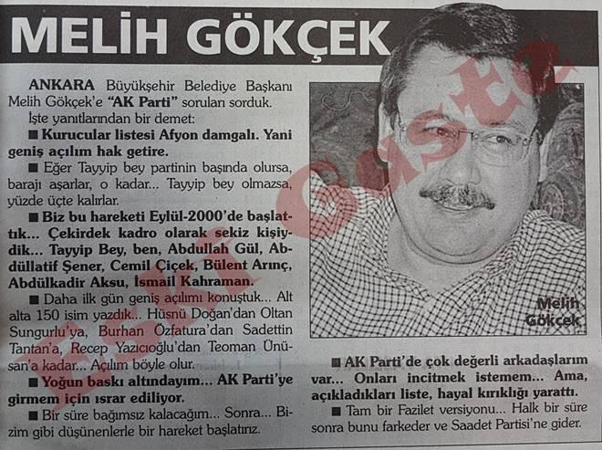 Melih Gökçek: AK Parti barajı aşar, o kadar
