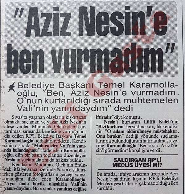 Temel Karamollaoğlu: Aziz Nesin'e ben vurmadım