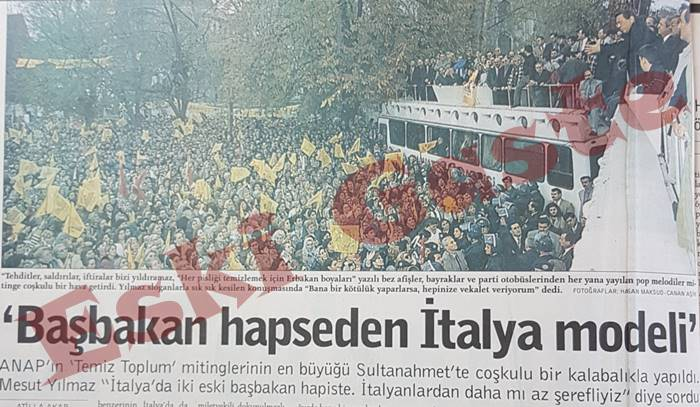 """ANAP lideri Mesut Yılmaz'ın Sultanahmet'teki """"Temiz Toplum"""" mitingi"""
