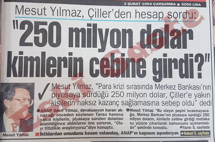 Mesut Yılmaz Tansu Çiller'den Hesap Sordu