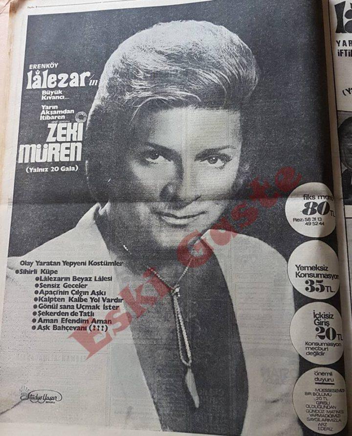 Erenköy Lalezar Gazinosu Zeki Müren Reklamı