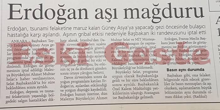 Recep Tayyip Erdoğan Aşı Mağduru